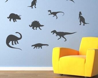 Dinosaur Wall Decal - Set of 10 - Dinosaur Bedroom Decor - Boy Bedroom Stickers - Large