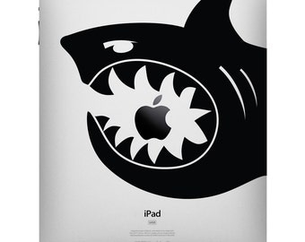 Shark Bite iPad Decal - Shark Tablet sticker by Stephen Edward Graphics