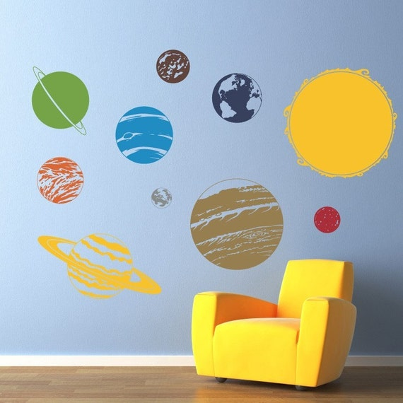 Solar System with Sun Vinyl Wall Decal - Children Wall Decals - Solar System Wall art