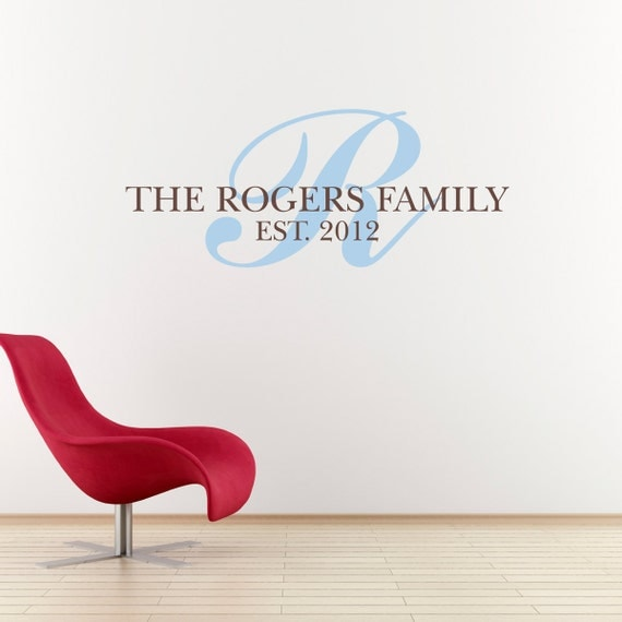 Last Name Decal with Initial - Established Date Wall Decal - Personalized Family Decal - Medium