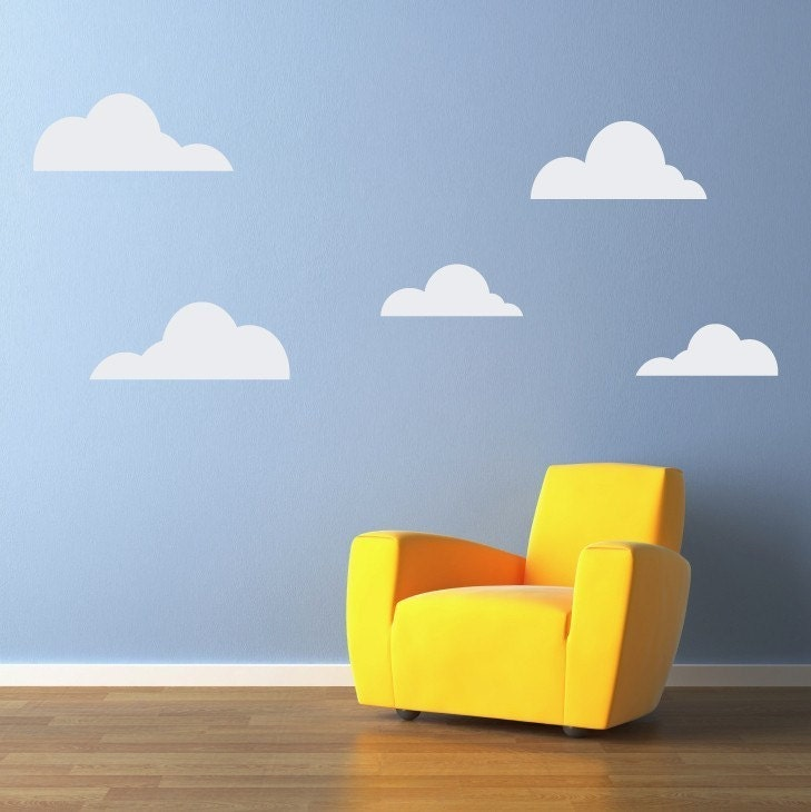 clouds wall decal set of 5 cloud decals wall stickers. Black Bedroom Furniture Sets. Home Design Ideas
