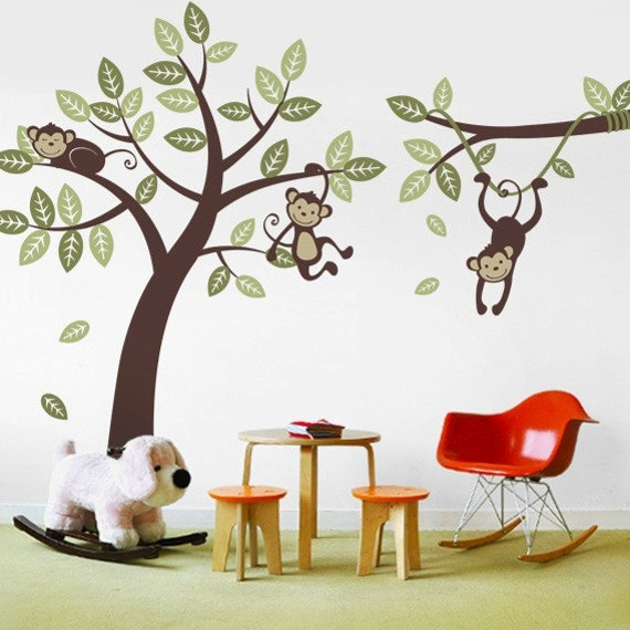 3 Monkey Tree and Branch Vine- Kid Wall Decals, Baby Nursery Vinyl Wall Decals