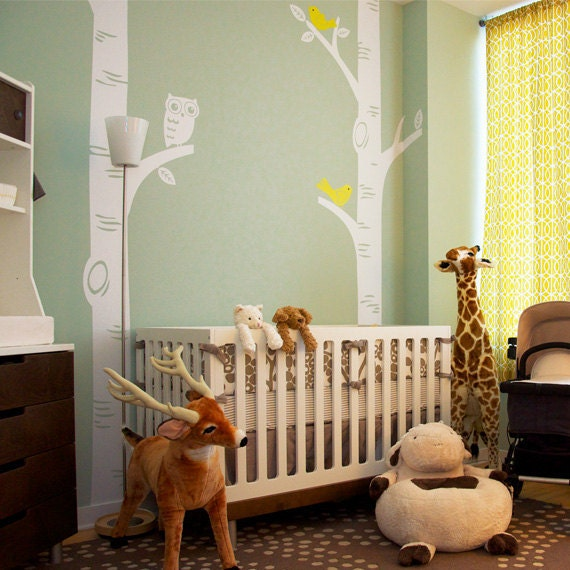 Birch Tree with Owl and Birds Decal - featured on Project Nursery W1049