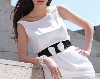 White & Black Short Draped Formal Dress, Audrey Style Pencil Dress Silk Cady and Black Satin, Made to Order.