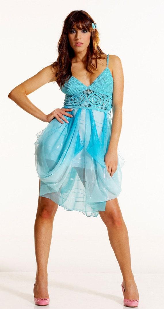 Turquoise Formal Dress Crochet Bodice Draped Chiffon Skirt, Boho Bridesmaid Dress, Alternative Short Wedding Dress, Made to Order