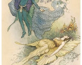 Wooden jigsaw puzzle. SLEEPING FAIRY & PRINCE. Warwick Goble. Vintage illustration. Wood, handcut, handcrafted, collectible. Bella Puzzles.