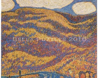 Wooden jigsaw puzzle. AUTUMN LANDSCAPE. Marsden Hartley. Impressionist Impressionism Wood, handcut, handcrafted, collectible. Bella Puzzles.