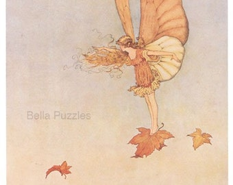 Wooden jigsaw puzzle. LEAF FAIRY in WIND. Outhwaite. Vintage illustration. Wood, handcut, handcrafted, collectible. Bella Puzzles.