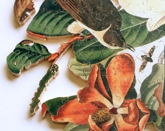 Wooden jigsaw puzzle. CUCKOO. John James Audubon. Botanical print. Wood, handcut, handcrafted, collectible. Bella Puzzles.