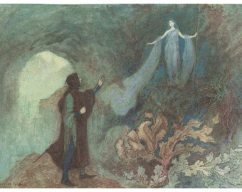 Wooden jigsaw puzzle. FAIRY APPEARING to the PRINCE. Warwick Goble. Wood, handcut, handcrafted, collectible. Bella Puzzles.