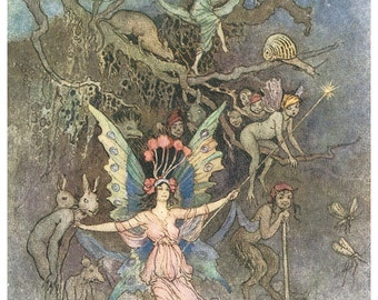 Hand-cut wooden jigsaw puzzle. UNDERGROUND FAIRIES. Warwick Goble. Fairytale gift. Wood, collectible. Bella Puzzles.