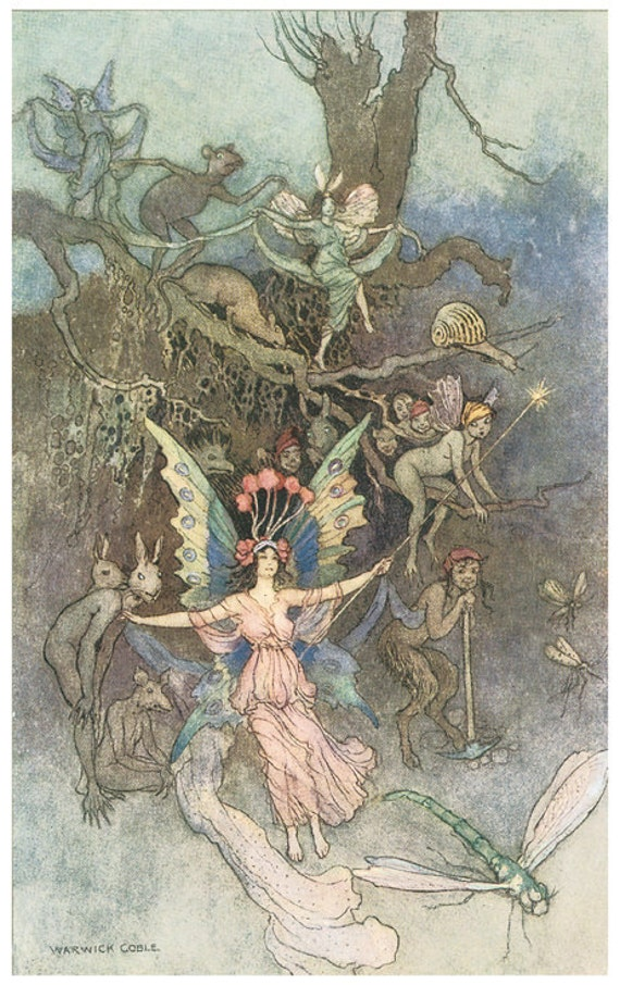 Wooden jigsaw puzzle. UNDERGROUND FAIRIES. Warwick Goble. Vintage illustration. Wood, handcut, handcrafted, collectible. Bella Puzzles.