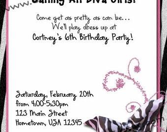 Girls Personalized Diva Zebra Birthday Party Printable Invitation