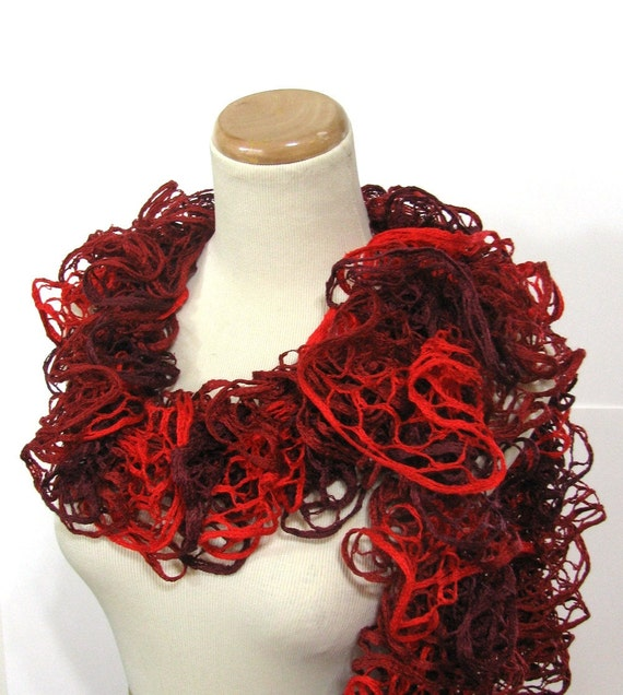 Valentines Day Red Ruffle Hand Knit Scarf