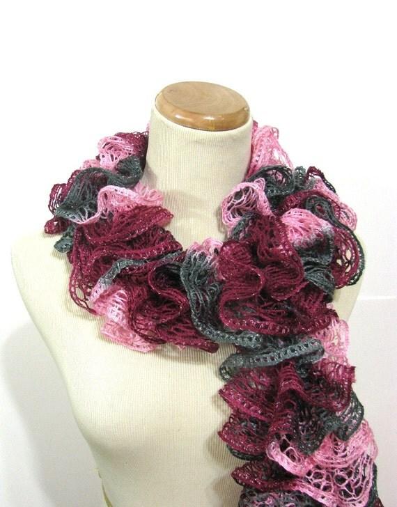 Hand Knit Ruffled Scarf - Pink Gray Magenta Hot Pink