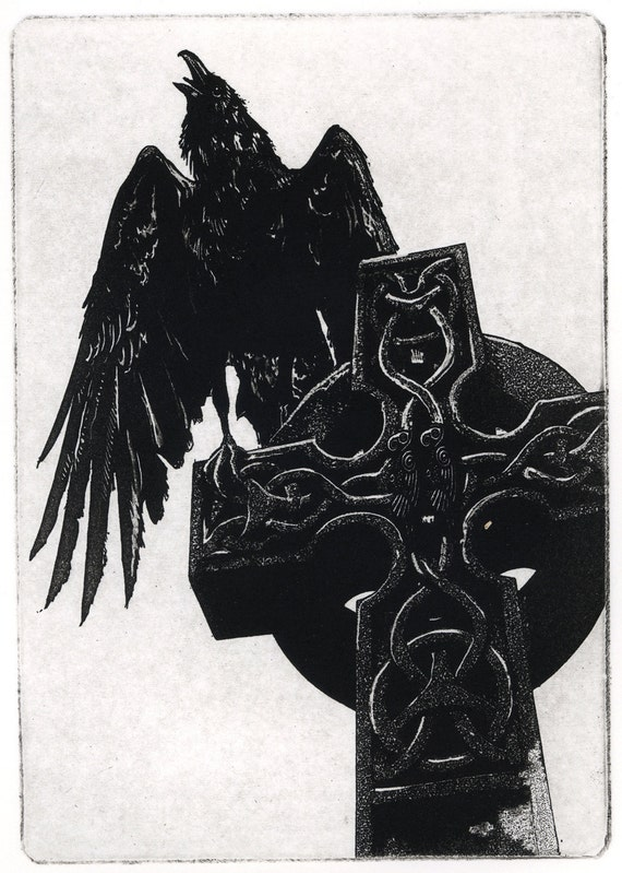 "Raven artwork , Raven, crow,  assorted color Etching 5"" x 7"" 2011"