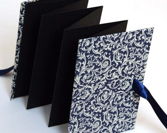 Small Photo- Book blue Renaissance ornament, Accordion Book, brag book, accordion photo book,