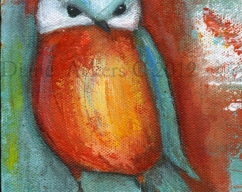 Orange Teal Owl Fine art print of my original mixed media acrylic painting orange, teal bird owl
