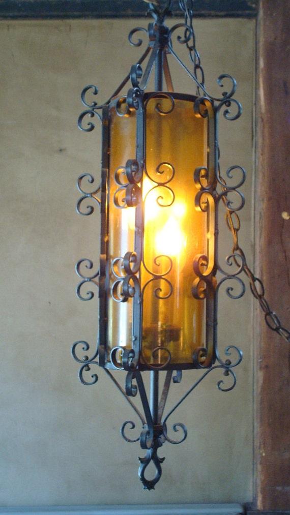 Vintage Chandelier amber hued glass,spanish mission style , Treasury pick vestiesteam, etsysbestvintage