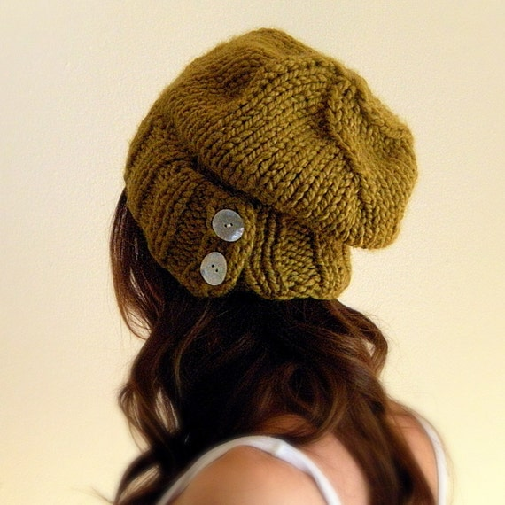 Slouchy Hat Warm Winter Beanie with Buttons / THE SALT CITY / in Limestone Creek