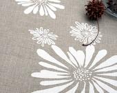 Linen Tea Towel - White Flowers. Natural Flax. Hand Screen-Printed.