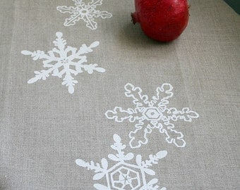 SALE. Snowflakes. Natural Linen Tea Towel. Winter. Gift.