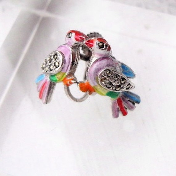 Lovebirds 1950s Enamel and Marcasite Brooch and Earrings Set