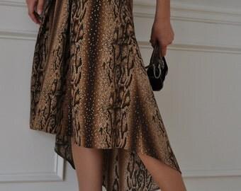 Brown Beige Gold Pleated Animal Print Hi-Low Skirt XS S M L