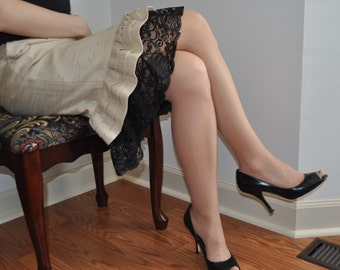Slip Extender - Black Long Lace Raffle Trimmed Slip, Lace Slip Extender, Lace Skirt Extender-  XS S M L XL XXL