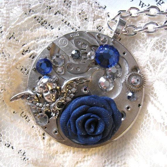 romantic steampunk wedding necklace blue rose silver angel