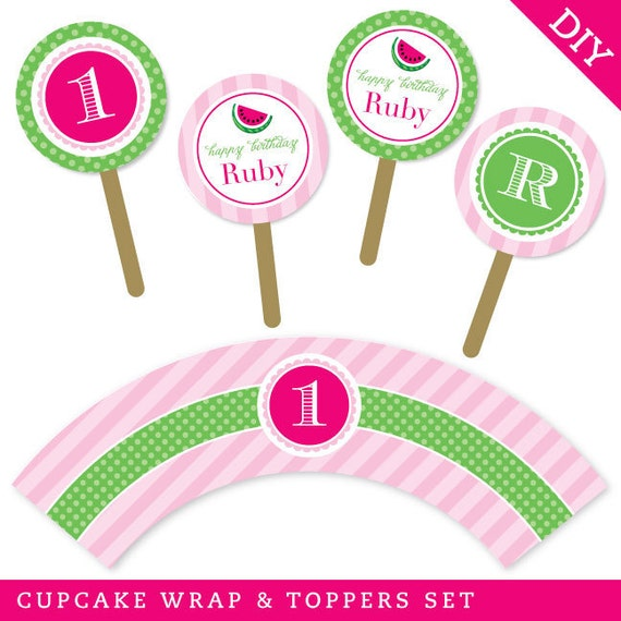 Watermelon party  - Personalized DIY printable cupcake wrapper and topper set