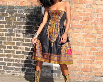 African Dashiki Diva Print Sundress S/M Black