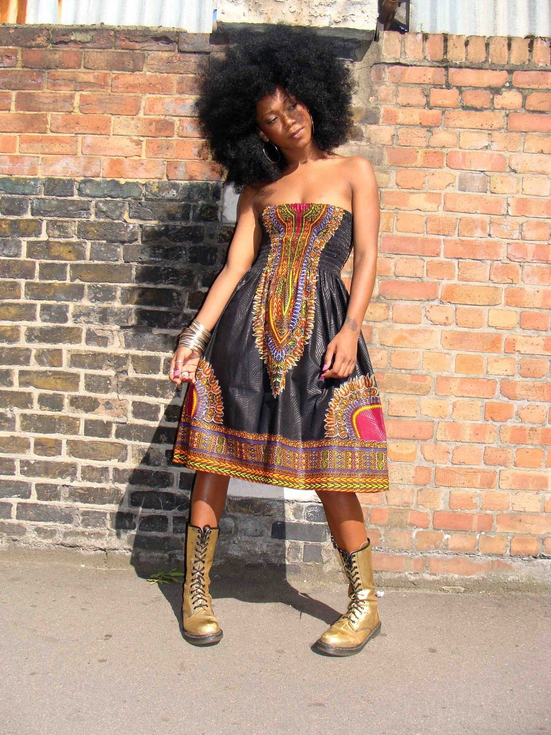 African Dashiki Diva Print Sundress S M Black