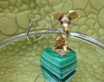 14k Gold Mouse Statue on Malachite Base