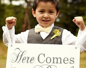Here Comes the Bride and/or And they lived Happily ever after Wedding Sign. Seen in Style Me Pretty. 8 X 16 inch.  Flower Girl, Ring Bearer.