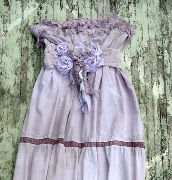 Romantic Boho Chic Maxi Dress, gypsy rose, ruffle easter dress, cottage chic, prairie girl, lilac sundress, hand dyed