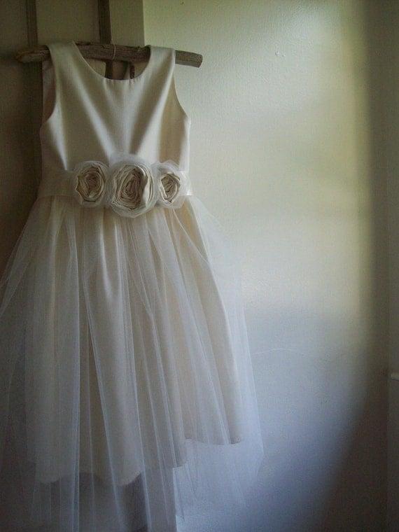 Ivory Flower girl dress ...... Organic sateen Cotton 2T-5