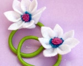 Girly Flower Power Ponytail Holders- Festive White flower