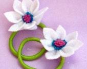 Girly Flower Power Ponytail Holders- Festive White flower