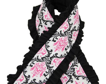 Ruffle Camera Strap Cover - Pink and Black  Casual Knit Ruffle