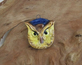 Wise owl farseeing totem sculptural ceramic pendant by JDaviesReazor