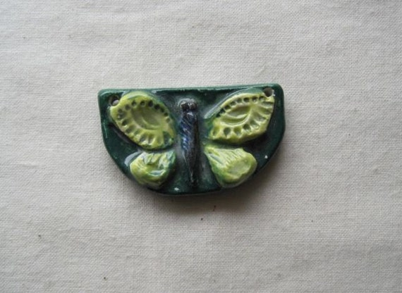 Spring butterfly - ceramic sculptural pendant