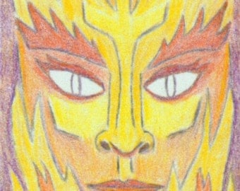 ACEO SFA Fire Elemental print of drawing fantasy face portrait flames gothic limited edition nitelvr