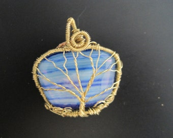 Tree of Life Wire-Wrapped Dichroic Fused Glass OOAK