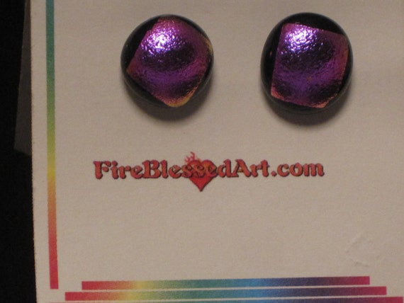 Red Purple on Black Fused Dichroic Glass Button Earrings - OOAK - SRA - cgge