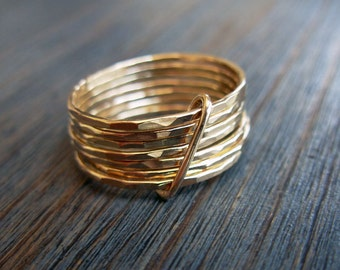 Seven. 14K Yellow Gold Hammered Stacked With A Loop Ring. Wedding Band. Hand Made Hammered Gold Ring. Recycled. Statement Wide Gold Band.