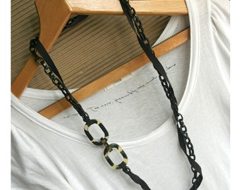 Tortoise Shell N Ribbon Long Statement Necklace no.5
