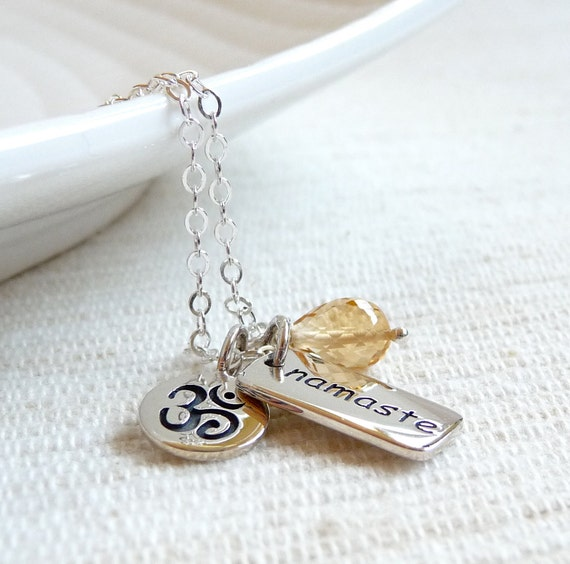 SALE - Om Yoga Necklace, Ohm Necklace, Namaste Necklace, Citrine Gemstone, November Birthstone, Yoga Jewelry, Sterling Silver Charm Necklace