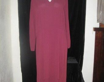 Vtg 30s 40s Burgundy Rayon Peek-a-boo KEYHOLE Tiered Tulip hem Dress larger size