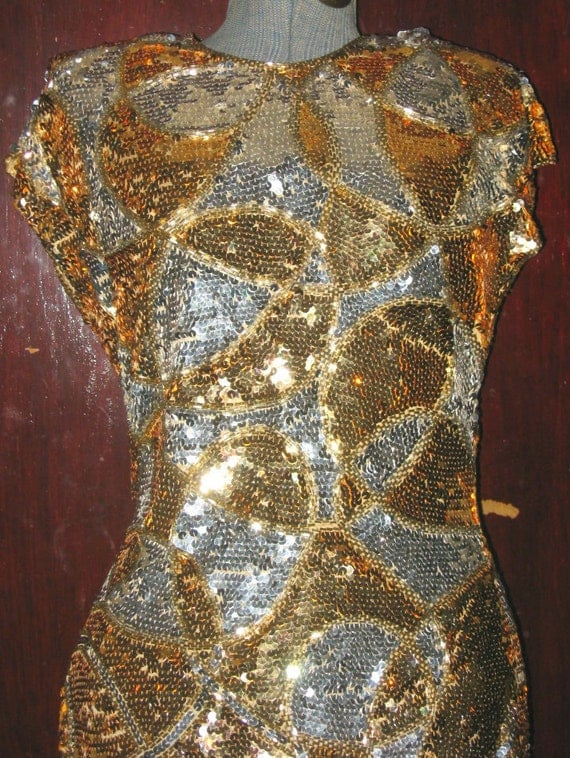 Vtg 60s Gold Silver Sequins Beads Op-Art VAVOOM Wiggle Dress